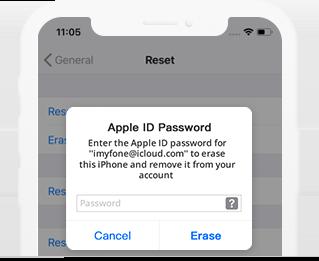 Enter Apple ID password to erase iPhone